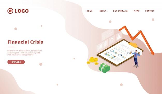 Crise financière pour le modèle de page de destination de la page d'accueil du site web de la campagne avec un style de bande dessinée plat moderne.