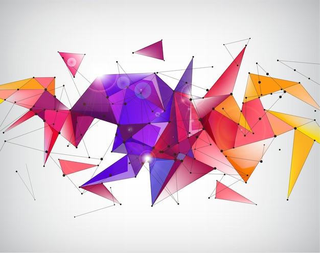 Cristal abstrait vecteur 3d à facettes fond arc-en-ciel origami géométrique, bannière futuriste