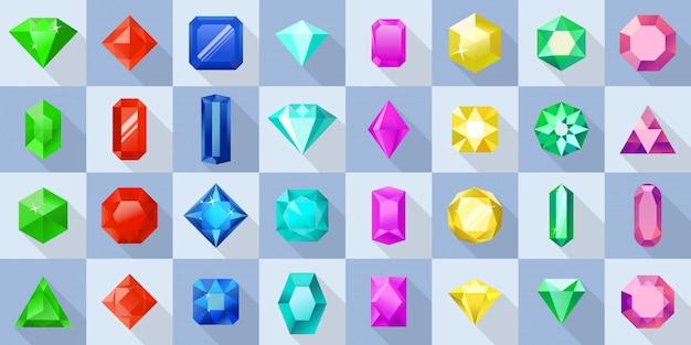 Cristal diverses formes icônes définies. illustration de plate de 32 cristaux de différentes formes pour le web