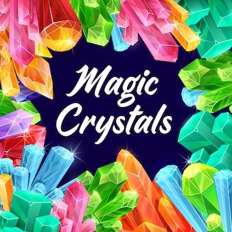 Cristaux magiques, pierres précieuses de fées et minéraux fantastiques.