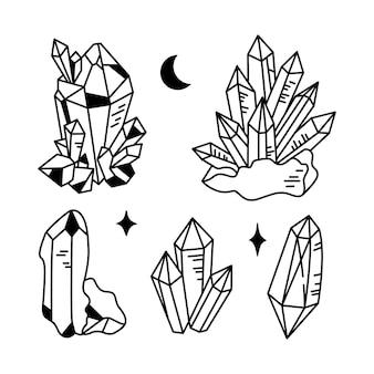 Des cristaux ou des pierres précieuses et des cliparts lunaires regroupent une collection de gemmes célestes ou de diamants
