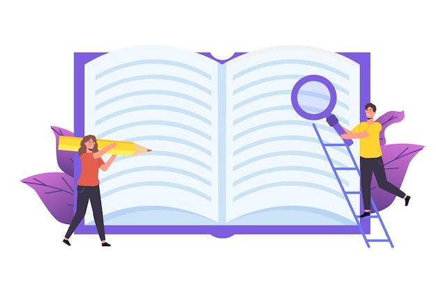 Critique de livre, concept de club de lecture. illustration vectorielle
