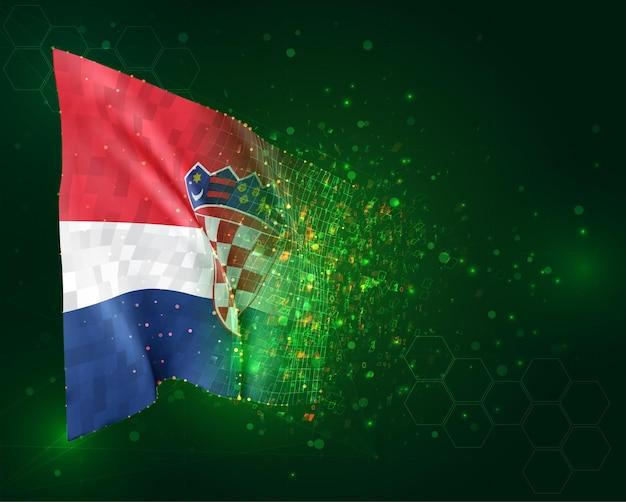 Croatie, drapeau 3d sur fond vert avec des polygones