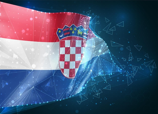 Croatie, drapeau, objet 3d abstrait virtuel de polygones triangulaires sur fond bleu