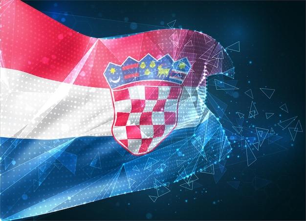 Croatie, drapeau vectoriel, objet 3d abstrait virtuel à partir de polygones triangulaires sur fond bleu