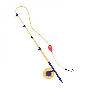 Crochet de canne à pêche sur fond blanc