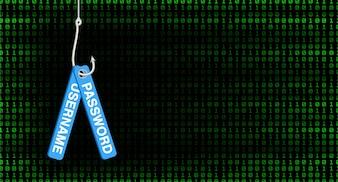 Crochet de pêche hameçonnage hack nom d'utilisateur et mot de passe