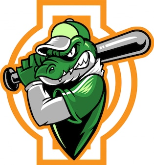 Crocodile Baseball Vecteur Premium