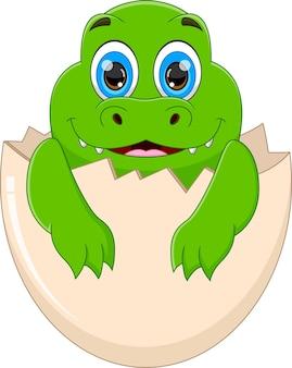 Crocodile de bébé de dessin animé éclosant de l'oeuf