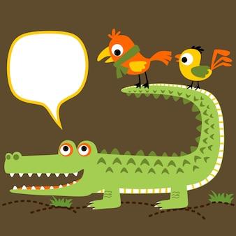 Crocodile avec caricature d'oiseaux mignons