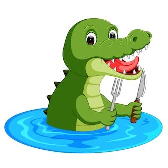 Crocodile cartoon se préparant à manger