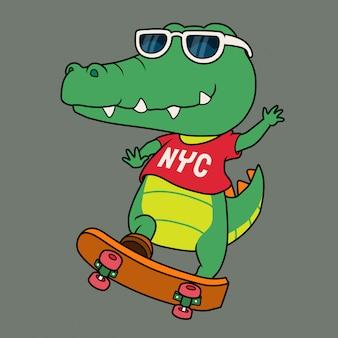 Crocodile cool jouant à la planche à roulettes.