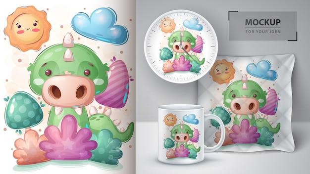Crocodile dans l'affiche de la brousse et merchandising