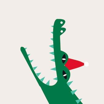 Crocodile de dessin animé aquatique portant un vecteur de chapeau de noël
