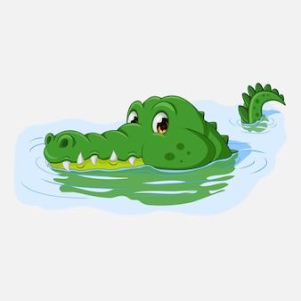 Crocodile de dessin animé nageant dans l'eau