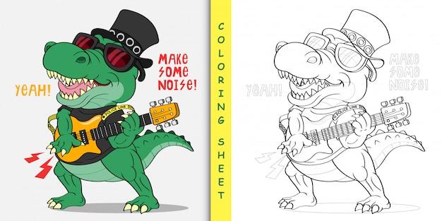 Crocodile de dessin animé la rock star, feuille à colorier