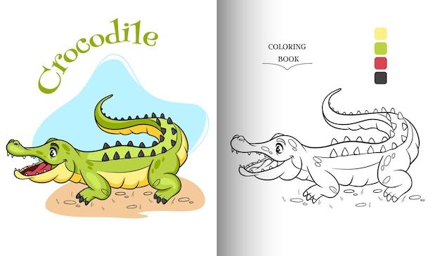 Crocodile drôle de personnage animal dans la page de livre de coloriage de style dessin animé. illustration pour enfants. illustration vectorielle.