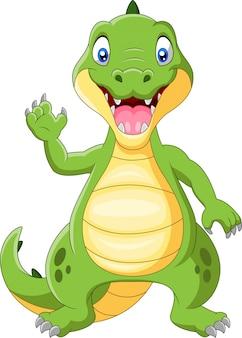 Crocodile heureux debout et agitant