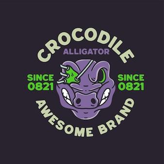 Crocodile avec illustration de crâne style rétro pour la conception de t-shirts