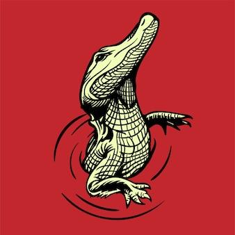 Crocodile illustration dessinée à la main