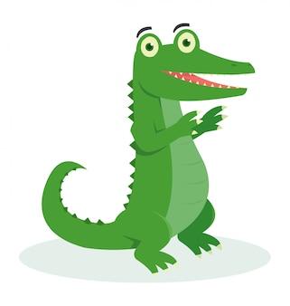 Un crocodile mignon dansant avec son pied