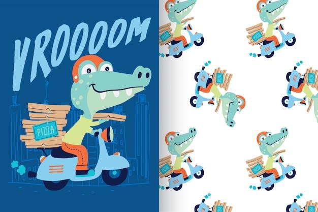 Crocodile mignon dessiné avec un motif