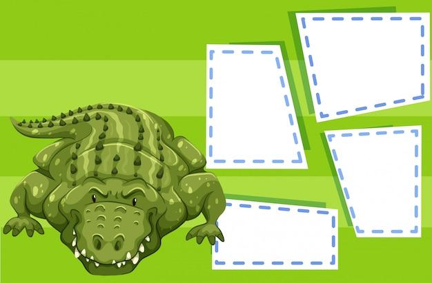 Un crocodile sur un modèle vierge