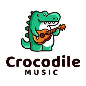 Crocodile play guitar logo
