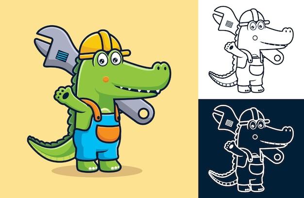 Crocodile portant un uniforme de travailleur tout en portant une grosse clé à molette. illustration de dessin animé dans le style d'icône plate