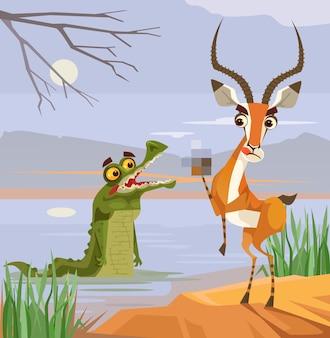 Crocodile prédateur et personnages antilopes victimes.