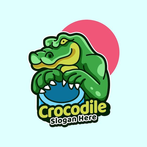 Crocodile avec style d'illustration d'icône de tambour
