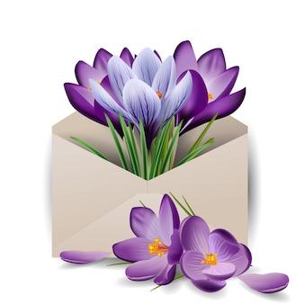 Crocus de fleurs printanières colorées dans l'enveloppe fond de printemps concept le vecteur de modèle