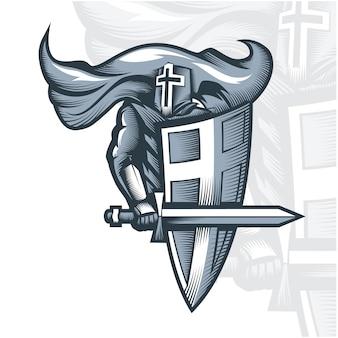 Croisé chevalier monochrome