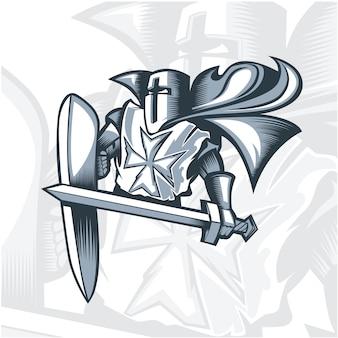 Croisé chevalier valiant monochrome.