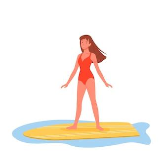 Croisière d'été plage personnes femme sur planche de surf personnage de dessin animé de jeune fille en tenue de plage debout