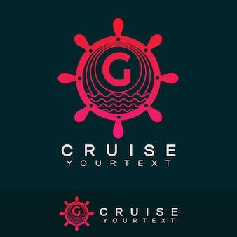 Croisière initiale lettre g création de logo