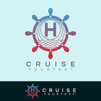 Croisière initiale lettre h création de logo