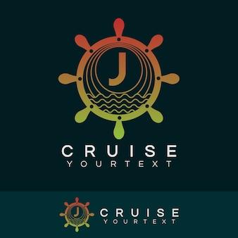 Croisière initiale lettre j création de logo
