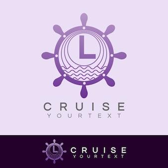 Croisière initiale lettre l logo design