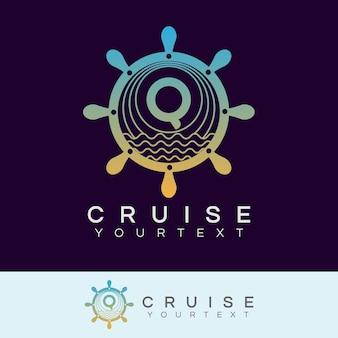 Croisière initiale lettre q logo design
