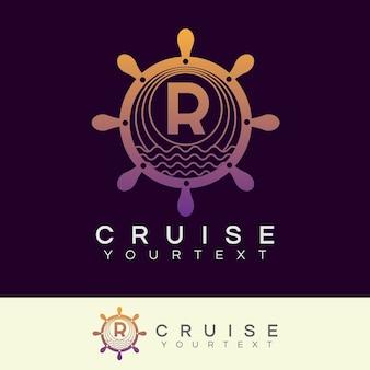Croisière initiale lettre r création de logo