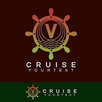 Croisière initiale lettre v création de logo