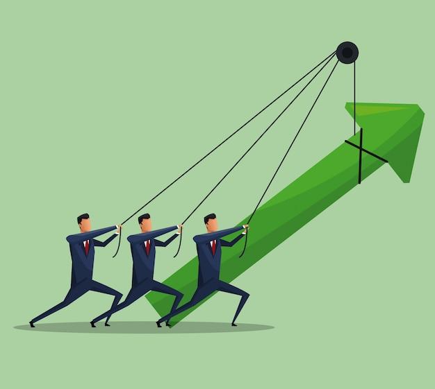 Croissance des affaires de travail d'équipe hommes arrow
