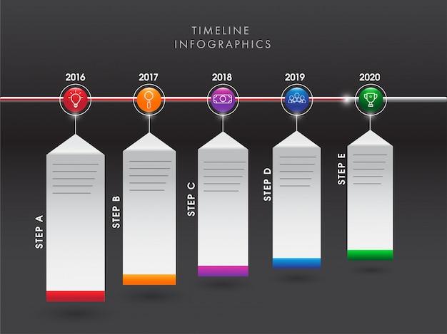 Croissance annuelle des entreprises ou succès concept chronologie infographie e