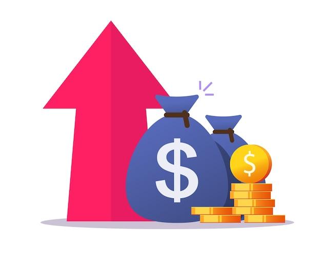 Croissance de l'argent profit vers le haut de la flèche icône vector cartoon plat, avantage en espèces, augmentation de la valeur de l'inflation économique