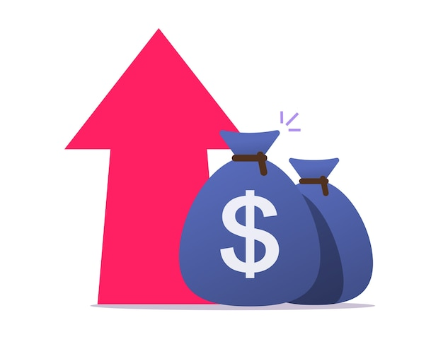 Croissance des bénéfices d'argent vers le haut, icône d'augmentation de la valeur du dollar d'inflation économique