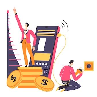 Croissance des bénéfices de l'entreprise, des finances et de l'économie. patron et employé travaillant sur des problèmes, utilisant des gadgets et des stratégies pour accumuler des actifs. travail en ligne et vecteur d'utilisation de smartphone à plat