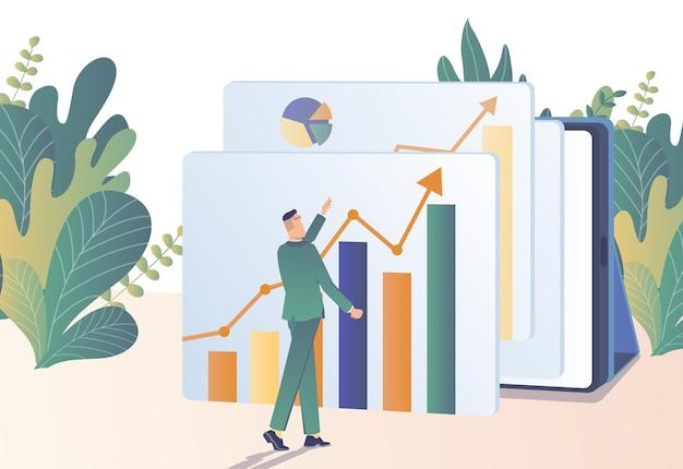 Croissance des bénéfices l'homme d'affaires étudie les graphiques de la croissance des bénéfices
