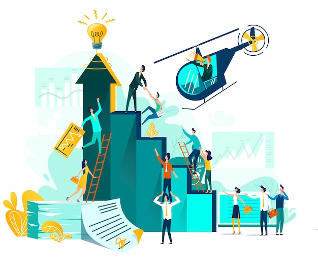 Croissance de carrière et coopération pour le développement de projet, idée, leader avec haut-parleur dans l'hélicoptère volant