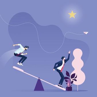 Croissance de carrière dans les entreprisesequipe commerciale utilisant un tremplin pour atteindre le rang star